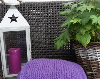 Pouf, floor cushion, knitted, monochromatic, purple