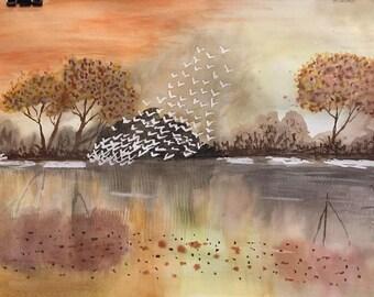 Original Watercolor Painting on paper. Title: Autumn