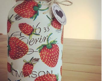 Handmade Juicy Strawberry Mason Jar