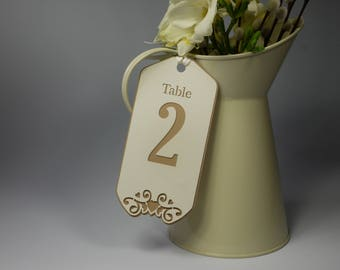 Double Layered Number Tags with Ribbon.  Pack Size 1 - 8