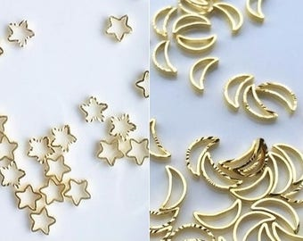 20 pcs UV resin embellishment, gold embellishment,star embellishment,moon embellishment,nail art carm,resin embellishment,metal accent
