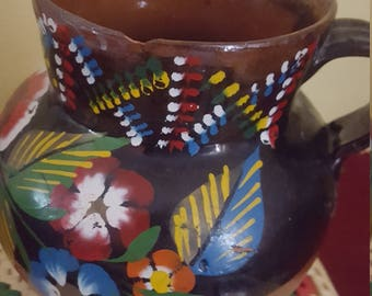 Hand Painted Mexican Pot With Handle, Vintage Pottery, Clay
