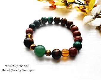 Yoga Bracelet Universal Healing Stone Crystal Brown Green Malachite Sandstone Tigers Eye Aventurine Meditation Beaded Jewelry Chakra Zen