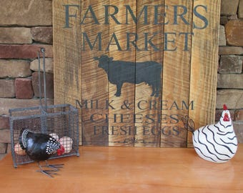 Farmers Market/Wood Sign/Cow/ Home Decor/Gifts