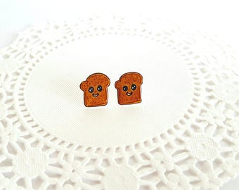 Toast Stud Earrings | Shrink Plastic, Cute, Miniature Food.