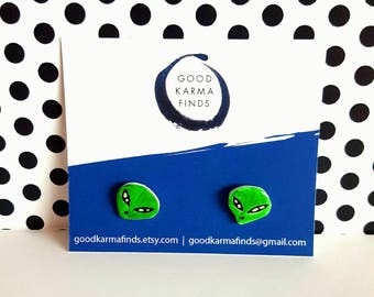Green Alien Stud Earrings | Shrink Plastic, Cute.