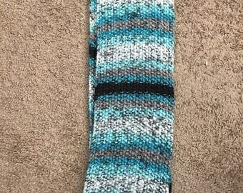 Teal, gray and black scarf