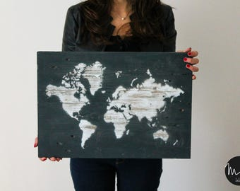 Picture WORLD 50x35 pallet wood effect ruined handcrafted/Handmade shabby WORLD MAP made of recycled wooden pallets