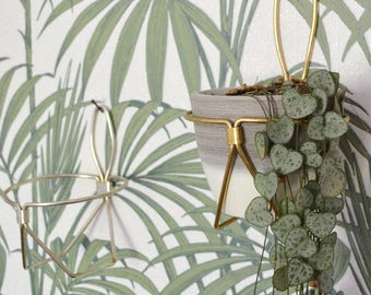 Vintage wall plant stand hanging basket brass gold wall planter brass silver mid century