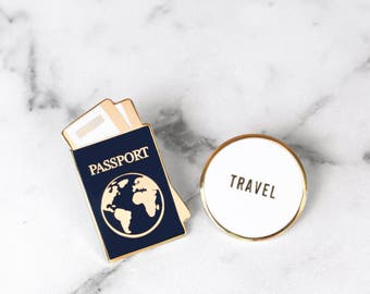 Traveler Enamel Pin Collection - Passport & TRAVEL