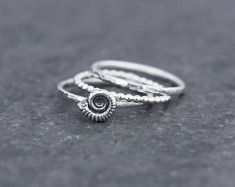 Ammonite Ring - Fossil Stacking Ring set - silver ammonite - stackable - hammered - beaded ring - gift for her