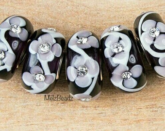 Murano black and grey glass rhinestone bead, rhinestone lampwork bead,black and grey glass bead,European black and grey glass bead