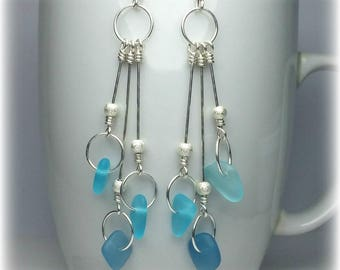 Sterling Silver Drop Earrings Blue Sea Glass Earrings Turquoise Earrings Sea Glass Jewelry Dangle Earrings Beach Jewelry Gift For Wife Gift