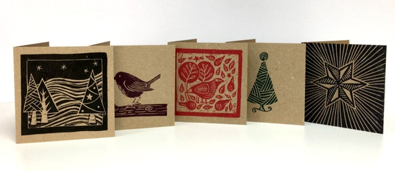 Pack of 5 Christmas Cards • Lino Print Cards • Christmas Tree Card • Robin Christmas Card • Partridge Christmas Card • Christmas Star Card