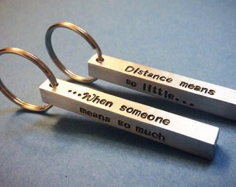 Set of personalized couples keychain (4sides) ideal for long distance relationship