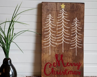 """Merry Christmas Hand Painted Wooden sign- 9.25"""" x 16"""""""