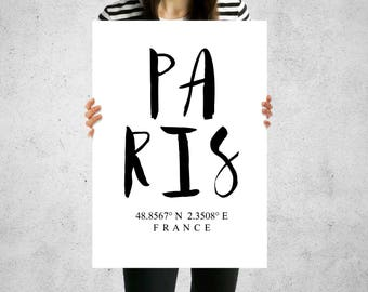 Print - Paris France Longitude Latitude - Wall Art, Contemporary, 5 Sizes, Home Decor