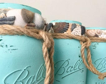Beach Mason Jar Set, Distressed Mason Jars, Sea Shell Mason Jars, Sets or Individual, Beach Wedding Centerpiece, Rustic Burlap Mason Jars