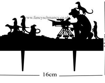Occasion Cake Topper 3mm Black Acrylic Wildlife Cameraman with Meercats
