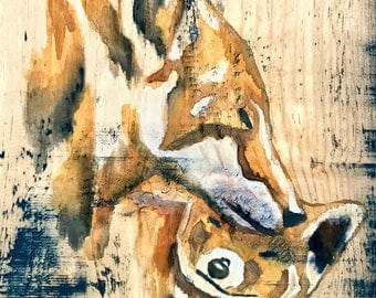 WATERCOLOR PAINTING,Fox Painting,Children Wall Art,Animal Art,Painting On Wood,Fox,Woodland Nursery Art,Rustic Nursery Decor,Woodland Decor