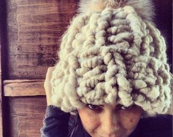 Super chunky alpaca knit beanie hat with fur pom pom
