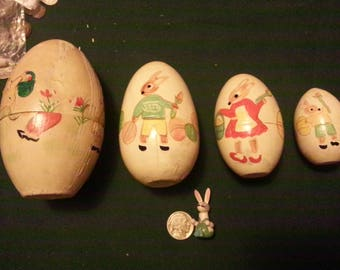 Vintage Hand Painted Easter Bunny Russian Nesting Egg w/wooden bunny
