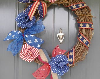Memorial Day Wreath, Door Wreath, July 4th Wreath, Patrotic Wreath, Red, White and Blue Wreath, Grapevine Wreath