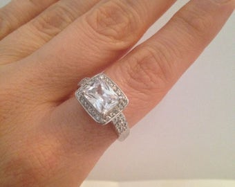 Radiant Engagement Ring, Halo Radiant Ring, 925 Sterling Silver Engagement Ring