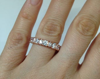 Rose Gold Eternity Band, Engagement Ring, Round Shape Stones and Baguettes Ring, Diamond Simulant Ring, .925 Sterling Silver