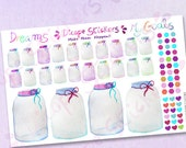 Watercolor Mason Jar Planner Stickers / Watercolor Purple Pink Mint Blue Mason Jar Savings Planner Stickers / Plan Your Dreams Collection