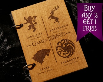 Game of Thrones wooden notebook / Game of Thrones notebook / sketchbook / diary / journal / travelbook / Game of Thrones gift