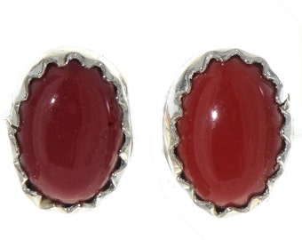 Native American Red Coral Stud Earrings by Ike Johnson