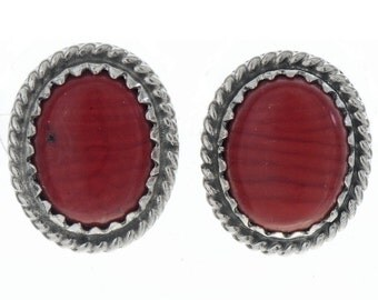 Native American Coral Stud Earrings Silver Twist Wire Posts