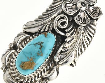 Turquoise Women's Navajo Ring Sterling Nature Design