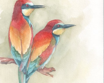 SALE - 30% was 52.00 bee-eaters, original watercolor painting 18 x 26 cm