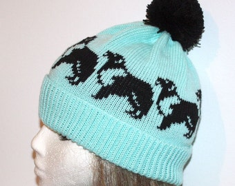 Turquoise with Black Collie Dogs pompom beanie hat