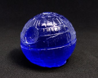 Dark Blue Kiln Cast Glass Death Star Star Wars Sculpture Paperweight