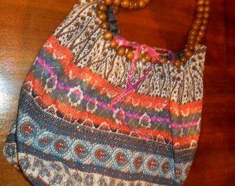 Vintage Hand Made Boho Handbag with Beads