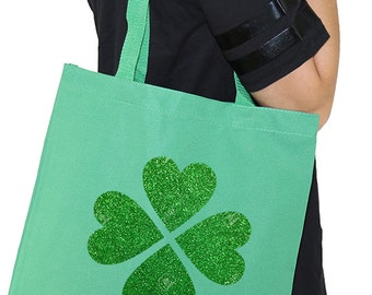 Green bag with saint patricks clover in green glitter