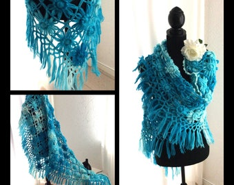 Crochet flowers scarf, shawl in overset turquoise colors