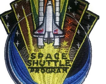 Space shuttle embroidered patch-heat sealed-sew on backing-size 3.5 X 2.5""