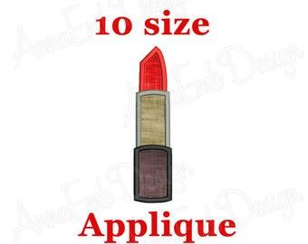 Lipstick applique embroidery design. Mini Lipstick applique design. Machine embroidery design. Mini Makeup. Cosmetic makeup design.