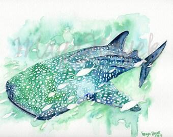 Whale Shark, whale art, whale nursery, beach decor, whale painting, whale shark painting, whale art, whale watercolor, whale print