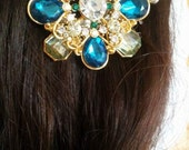 Prom Emerald and Gold hair barrette
