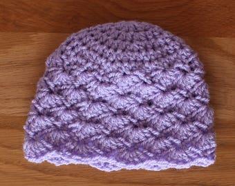 Purple Crochet Shell Stitch Baby Hat - Newborn