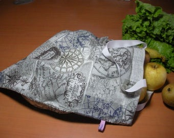 """Cabas in cotton print """"World map"""", lined with white cotton - inside pockets"""