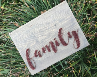 Family - add your own photos! - Made to Order - 11x15 inch stringart - Wall Decor
