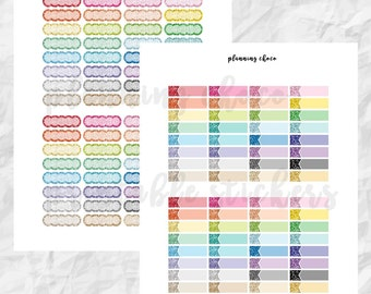 Glitter Quarter Box  /ECLP / colorful basic functional  printable planner stickers, pdf, jpg