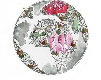 Native Australian flowers World Map