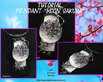 PDF tutorial pendant Moon Sakura Polymer clay pendant tutorial Japanese pendant tutorial Sakura pendant
